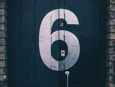 number 6 on door