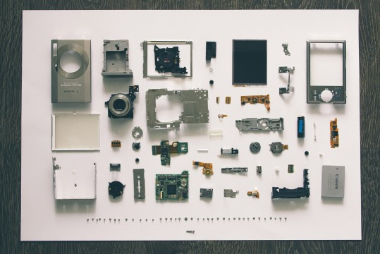 Pieces of deconstructed photo camera