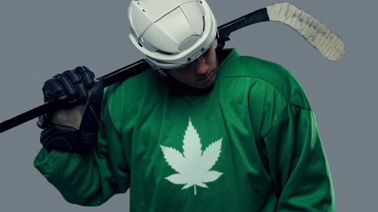 Hockey player with cannabis leaf on jersey