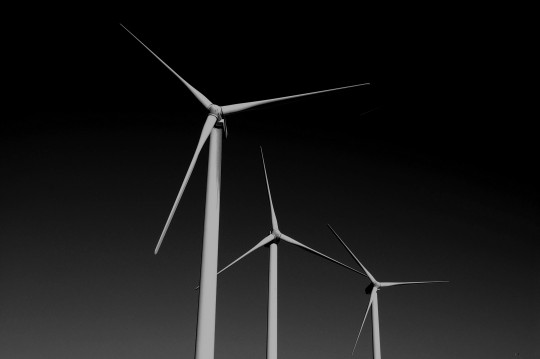 black and white image of wind turbine