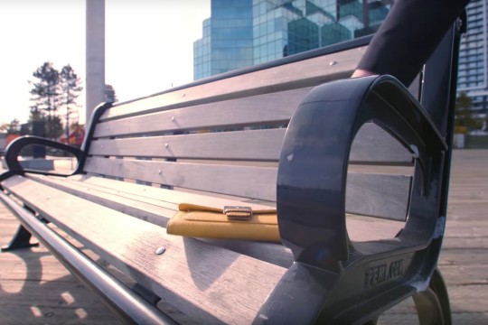 Wallet rested on public bench