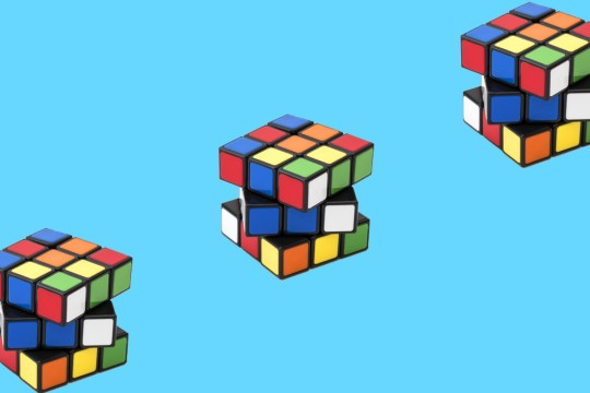 Rubik's cube repeated on background