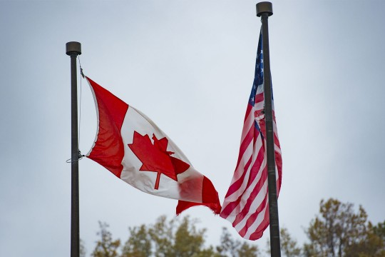 Canadian and US flags