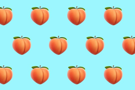 Peach emoji repeated on background