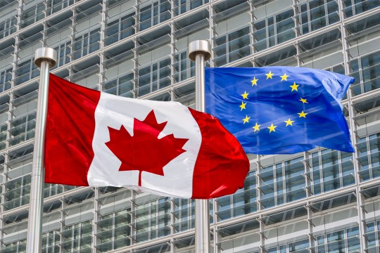 European Union and Canadian  Flags