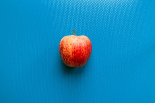 Apple on a blue background
