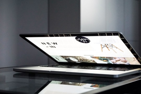 Open laptop showing e-commerce website