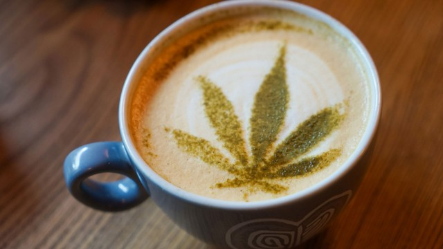 Cannabis leaf in a coffee mug