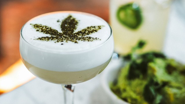 Cannabis leaf in a drink