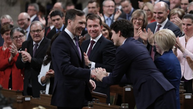 Justin Trudeau and Bill Morneau in Canada's House of Commons